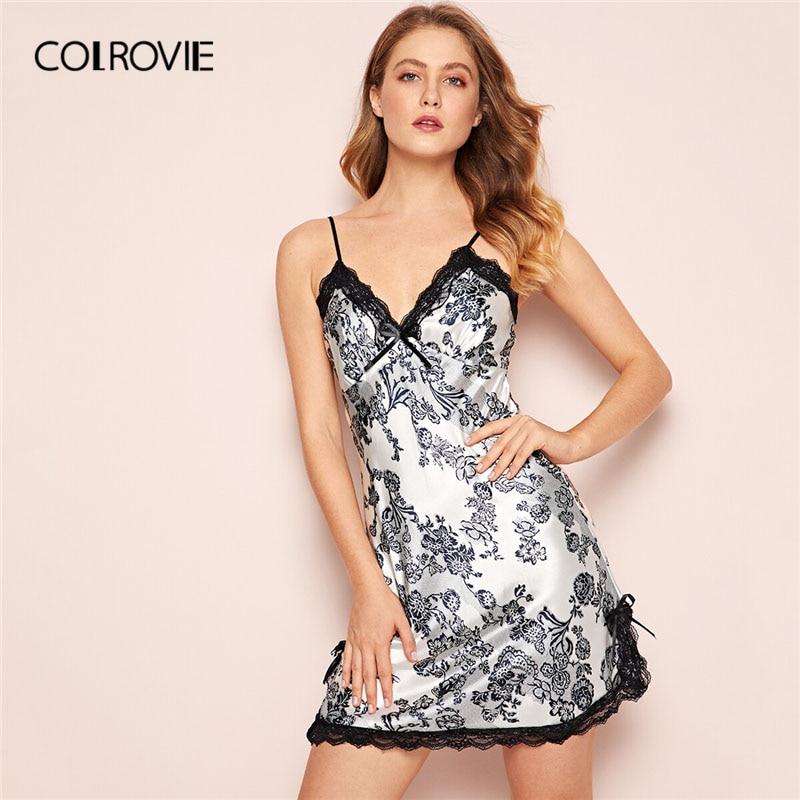 COLROVIE черный и белый цветочный принт кружево разделение Атлас Cami Ночное платье для женщин 2019 без рукавов пикантные пижамы дамы Ночная рубашк...