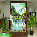 94 Photo painted panel water fountains /fengshui /separating screen decoration/humidifier/living room dividers/glass waterfalls