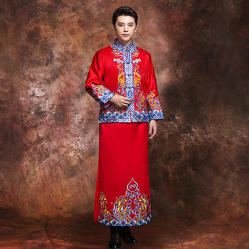 Chinese Classic Men Embroidery Flower Cheongsam Suit Exquisite Handmade Button Marriage Set Vintage Bridegroom Wedding Clothes