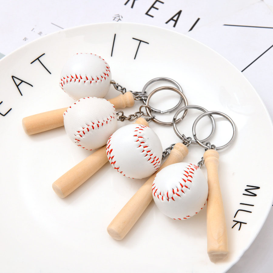 3D baseball keychain cute key ring for women baseball bat key chain key holder portachiavi chaveiro llaveros hombre bag charm image
