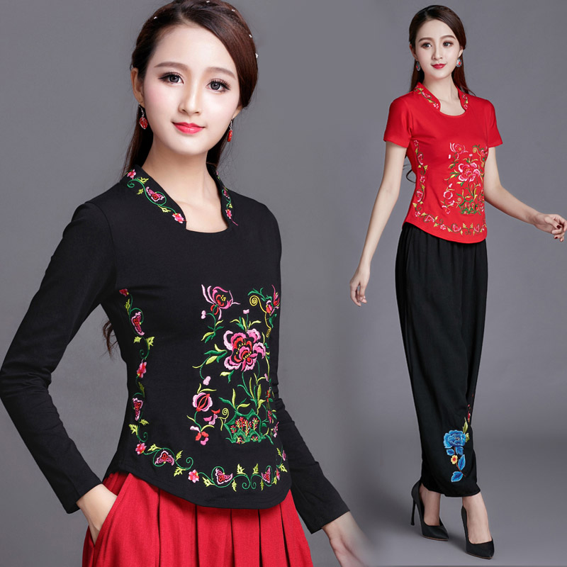 Chinese Style women's pullover 2018 spring autumn embroidered long sleeved t-shirt female lady plus size cotton summer t shirt