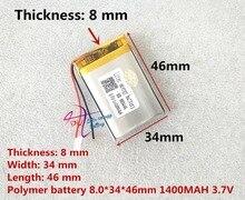 Bateria do polímero do lítio da bateria 3.7 v da energia do litro 803446 083446 1400 mah gps bateria mp3 mp4 alto falante máquina de ensino
