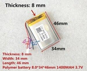 Image 1 - Liter energie batterij 3.7 V lithium polymeer batterij 803446 083446 1400 mAh GPS MP3 MP4 speaker onderwijs machine