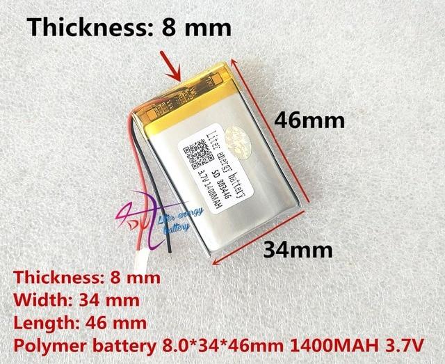 Liter energie batterij 3.7 V lithium polymeer batterij 803446 083446 1400 mAh GPS MP3 MP4 speaker onderwijs machine