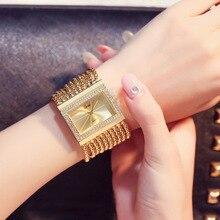 Роскошные Женщины Кварцевые Наручные Часы Золотые Наручные Часы Crytstal Горный Хрусталь Браслет Прямоугольник Циферблат Женщины Кварцевые часы relogio feminino