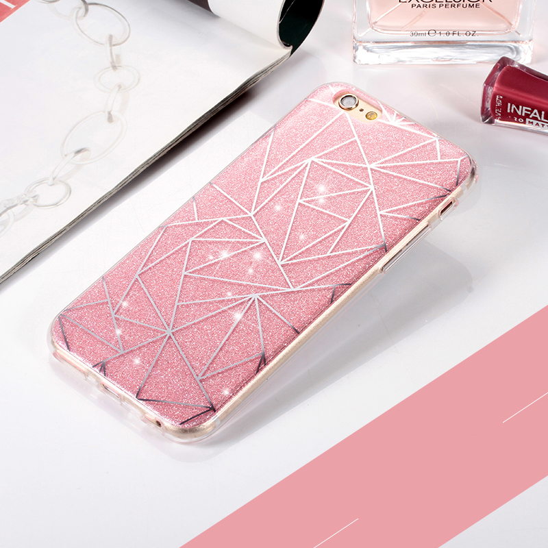 For Apple iPhone 6 6S plus 5 5S Phone Case for iphone 7 7 plus Soft Gel TPU Back Cover Bling Glitter Shimmering Protective Shell