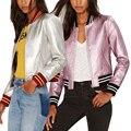 Mujeres de Metal Color de LA PU de Cuero Corto Chaqueta Cool Fashion Ladies Otoño Invierno del Diseño del Cortocircuito Del collar Del Soporte ocasional chaquetas de la capa
