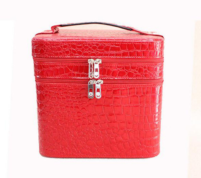 ZKT021 women Cosmetic Cases 25*17*24.5cm Female hand double vanity case Cartoon cosmetic bag stone grain makeup tool storage box