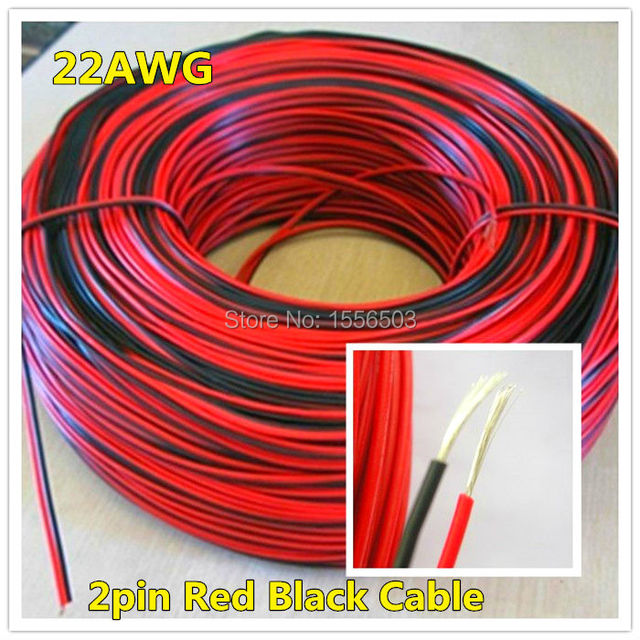3 meters Electrical Wire Tinned Copper 2 Pin AWG 22 insulated PVC ...