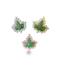 O transporte da gota AKA 20 pérola rosa e cor verde broche Sorority Alpha  Alpha K Jóias pin f71e8f957dd