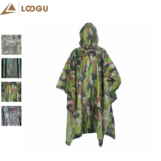 camo rain poncho ligthweight multifunctional outdoor sport raincoat