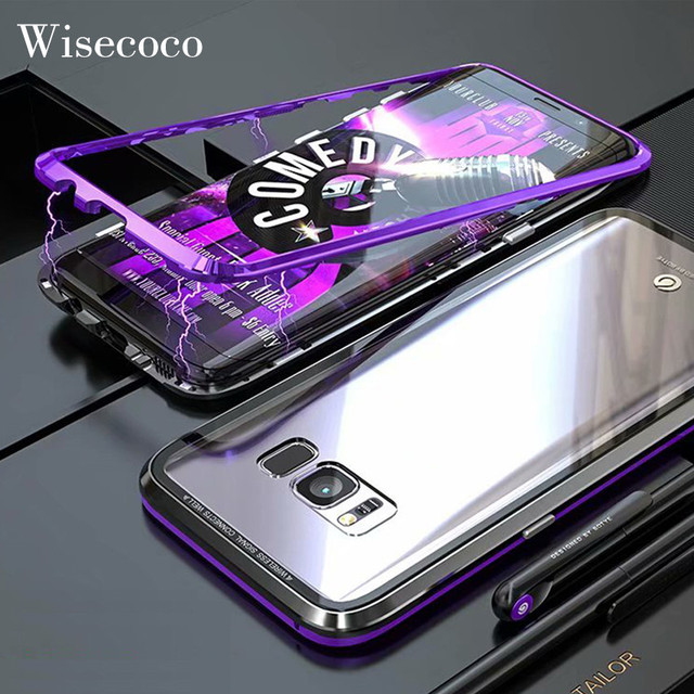 discount 9c74f 78855 US $12.77 20% OFF|Ultra Magnetic Adsorption Metal Phone Case For Samsung  Galaxy S8 Plus Luxury Magnet Tempered Glass flip Full Cover For S8  S8Plus-in ...