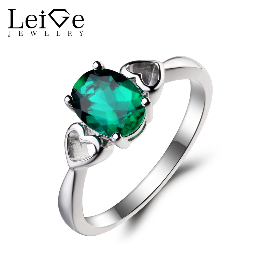 Leige Jewelry Lab Emerald Ring Engagement Ring Oval Cut Green Gemstone May Birthstone 925 Sterling Silver Ring Gifts for Women