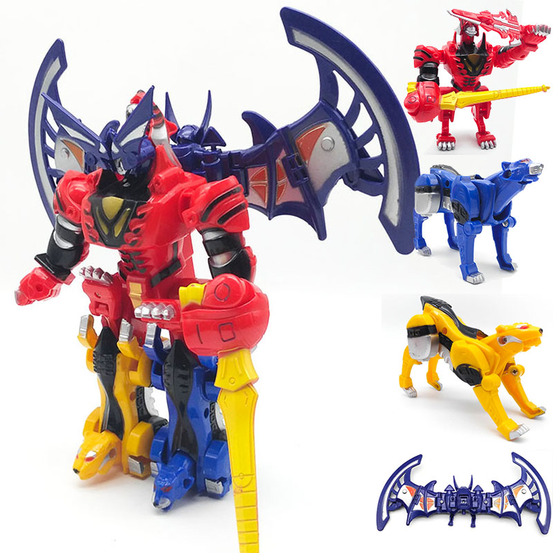 4 IN 1 Assembly Megazord Robot Transformation Toys Children Birthday Gifts Dragon Ranger Dinozords Boy Action Figures 5 in 1 assembly toys transformation robot dinosaur rangers megazord action figures kids christmas gifts