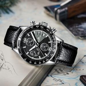 Image 4 - MEGALITH 男性スポーツクロノグラフウォッチ腕時計防水日付カレンダークォーツ時計メンズファッションカジュアルレザーストラップ Wirst 腕時計メンズ