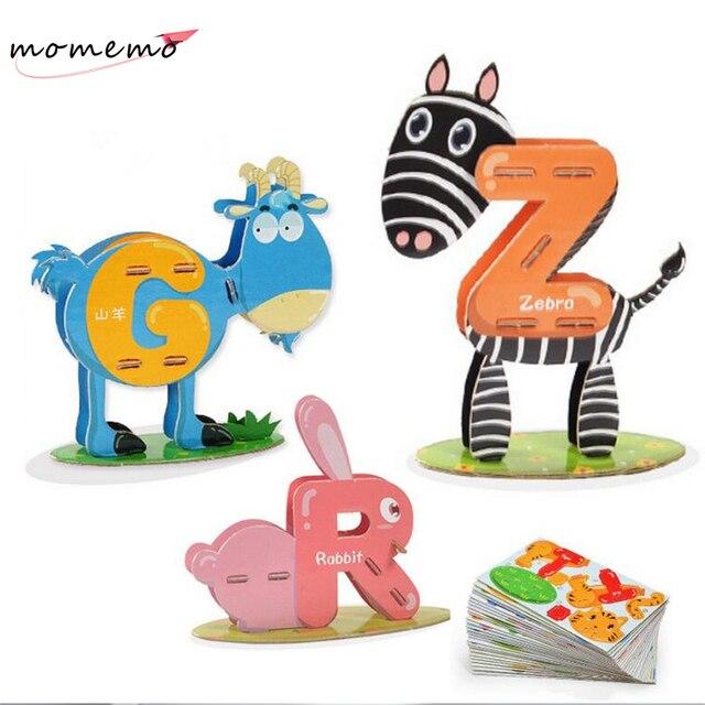 Alphabet Children Puzzle Chinese English Learning Education Jigsaw Box DIY Toys Birthday Gift