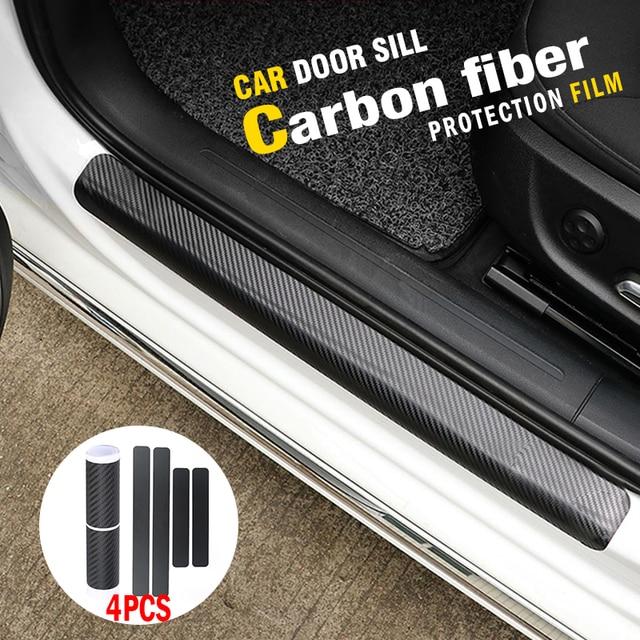 US $1 01 40% OFF 4PCS Car Door Sill Protector 3D Carbon Fiber Vinyl Wrap  Car Rear Bumper Trim Anti Kicked Scratch Protection Sticker Strip-in