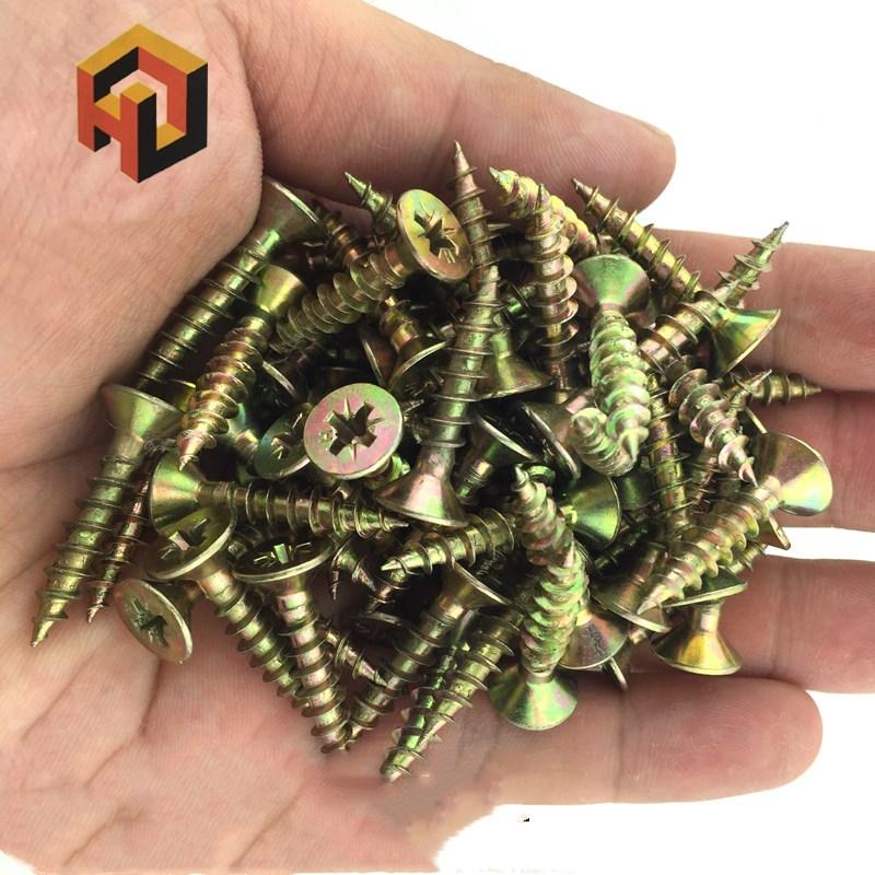 free shipping 100 pcs Cross head self - tapping screw dry wall nail with hard flat head wood screw fiber nail m3.5 m4m5 цена