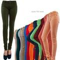 NOVO Popular Básico Algodão Fino Calça Jeans Coloridos Lápis Calças Skinny Frete Grátis