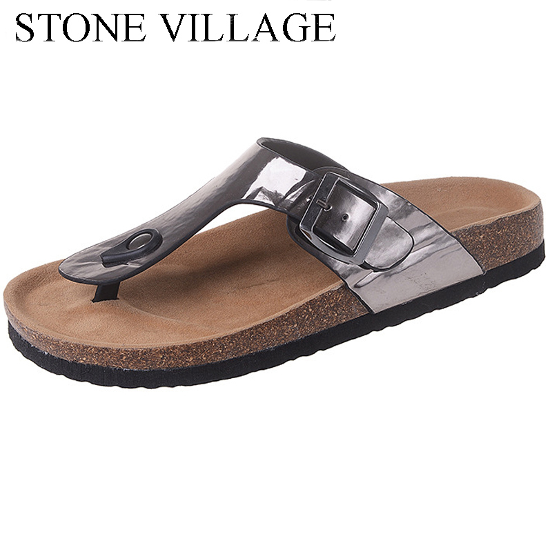 STONE VILLAGE Summer Flat Sandals Ladies Beach Flip Flops Shoes Gladiator Women Shoes bling sandals women slippers new sandals women 2016 summer casual women shoes roman gladiator girls flat sandals ladies white flip flops nice sandals