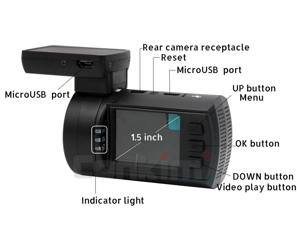 Conkim lente dupla câmera do traço carro gps dvr frente 1080 p fhd + câmera traseira 1080 p fhd guarda estacionamento auto registrador mini0906 pr0 dashcam - 4