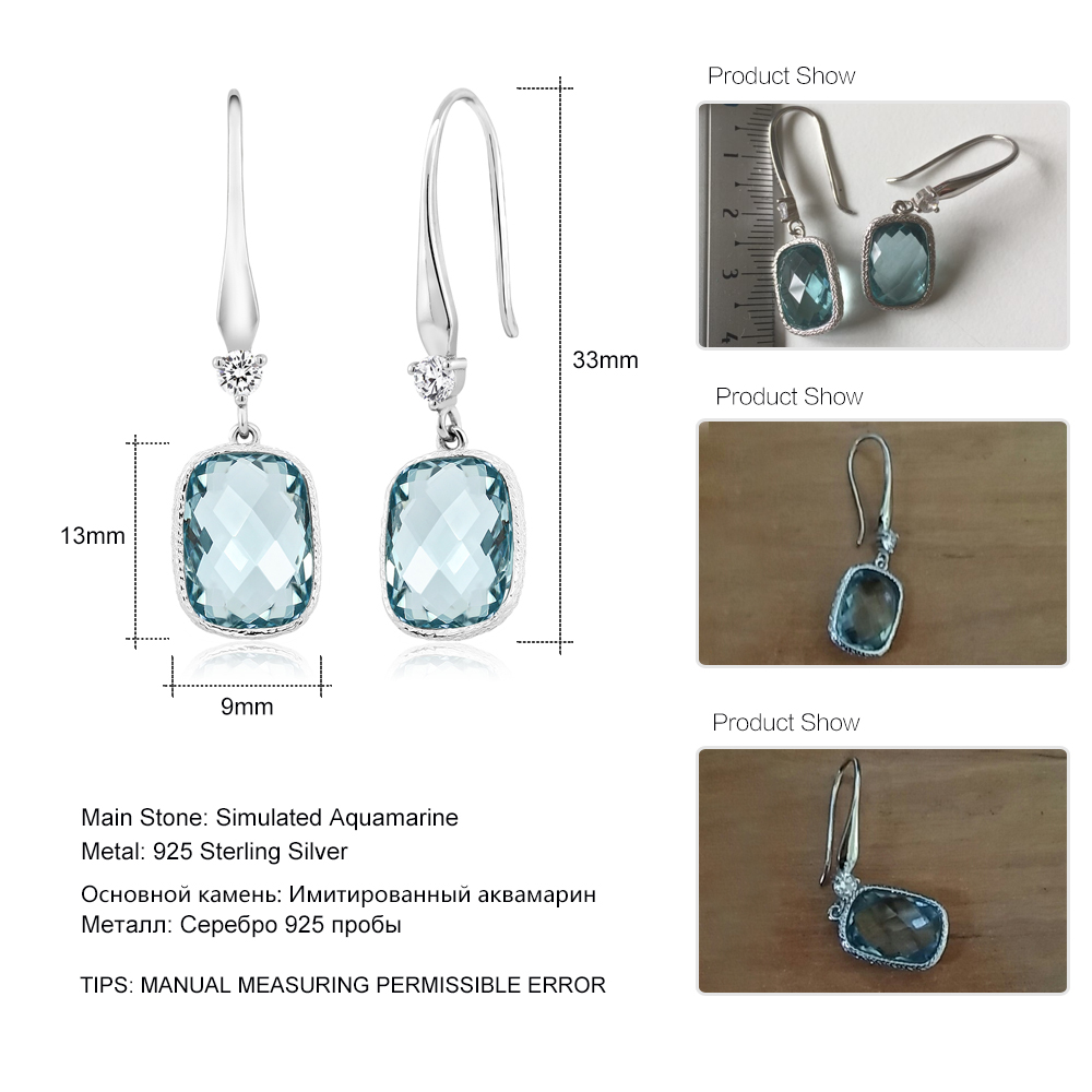 Gemstoneking Cushion Checkerboard Simulated Blue Aquamarine Earrings For Women Solid 925 Strerling Silver Drop In From Jewelry