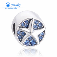 Seastar 925 Sterling Silver Charms Fire Blue Jewelry DIY Accessories Superstar Fits European Bracelet X465H50