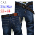 6 EXTRA GRANDE Hondies Verão Ultra-fino Masculino Calça Jeans Plus Size Roupas masculinas Em Linha Reta Calças Slim Calças Compridas Calças Jeans masculinas