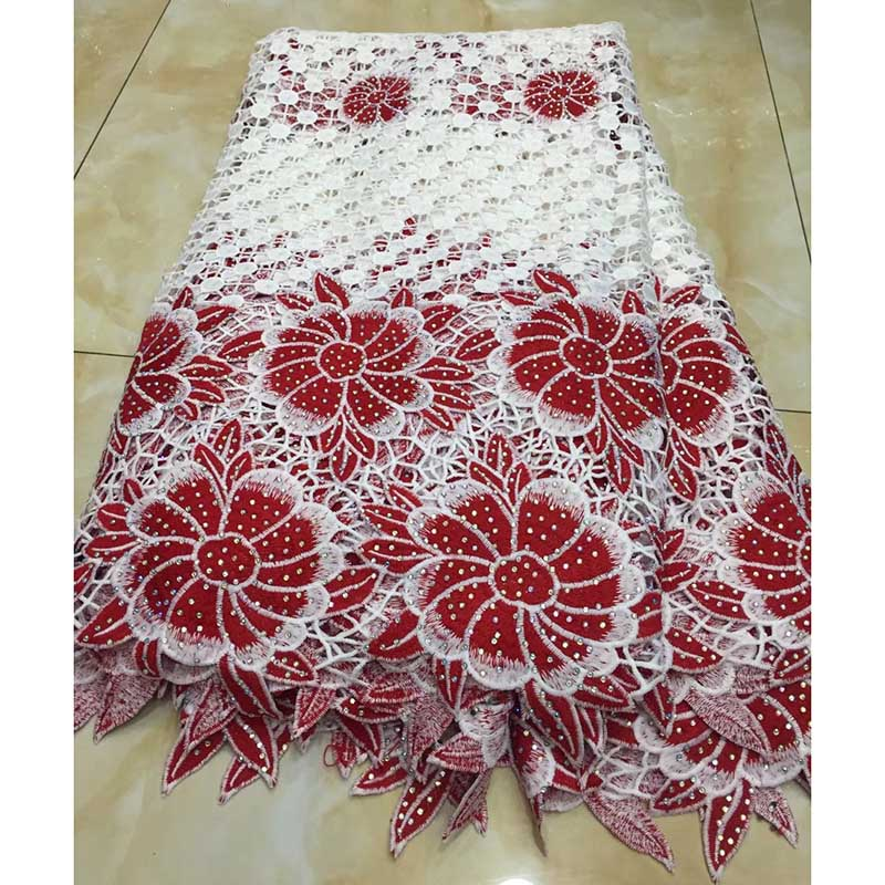 Latest Design Red White Color African Lace Fabric 2018 High Quality French Mesh Lace with full