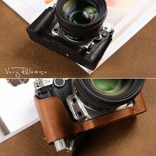 AYdgcam fait à la main en cuir véritable étui pour appareil photo demi-corps pour Nikon DF sac de caméra couvercle inférieur poignée étui Vintage