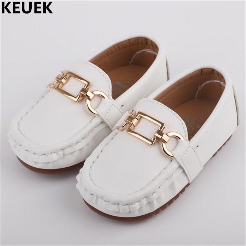 New Children Shoes Baby Toddler Shoes Boys Girls Leather Shoes Student Casual Loafers Flats Kids Single Shoes Black White 03