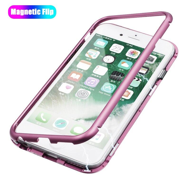 Caso magnético para el iPhone X 8 7 6 Samsung galaxy s7 8 9 más vidrio templado claro adsorción caso Metal Ultra cubierta de parachoques