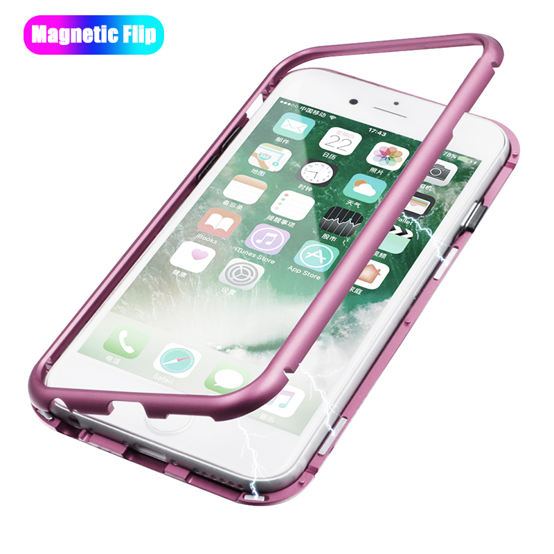 Magnetic Case for iPhone X 8 7 6 Plus Samsung galaxy s7 8 9 Plus Clear Tempered Glass Adsorption Case Metal Ultra Cover bumper
