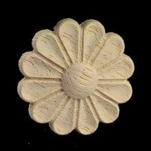 Vintage Round Wood Carving Applique Oak Furniture Decorative Mouldings Decal Cabinet Door Figurine Craft Flower Board