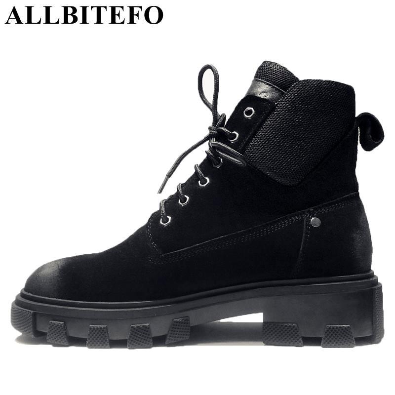 ALLBITEFO/модные брендовые из нубука на толстом каблуке зимние женские ботинки Обувь на высоком каблуке ботильоны женские Ботинки martin сапоги дл...