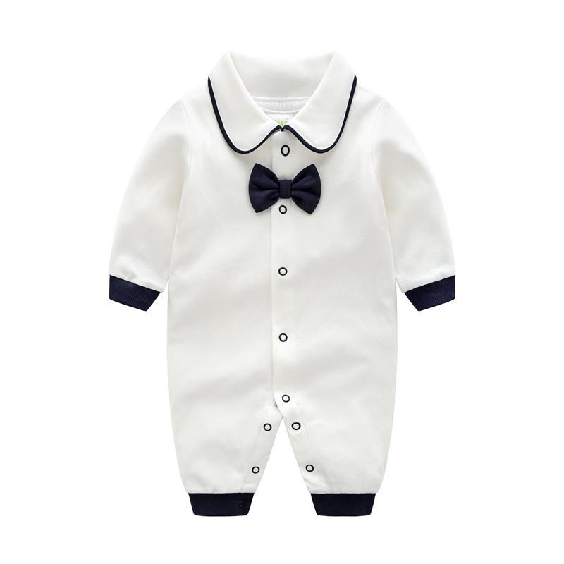 Spring And Autumn Gentleman Bow Tie Baby Onesies Boy Girl Baby Cotton Long-sleeved Jumpsuit Romper