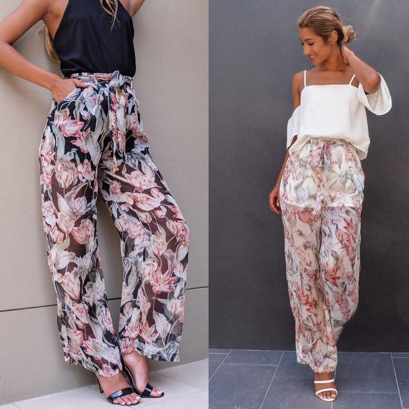 Women Casual Chiffon Print Harem Pants Comfy Elastic High Waist Full Length Trousers