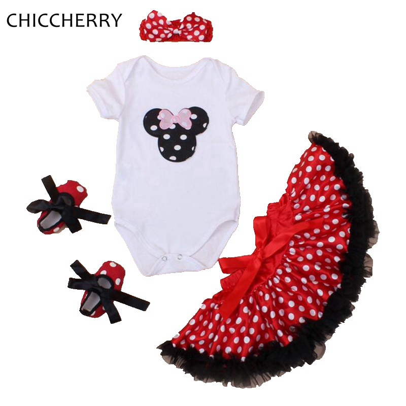 Red Minnie Applique Little Girl Clothes Polka Dots Baby Bodysuit Headband Lace Tutu Skirt Set Roupa De Bebe Toddler Outfits