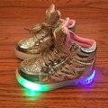 Tamanho 22-31 sneakers levaram crianças ouro prata rosa da menina da criança shoes crianças shoes luminosa de iluminação pisca tênis brilhantes
