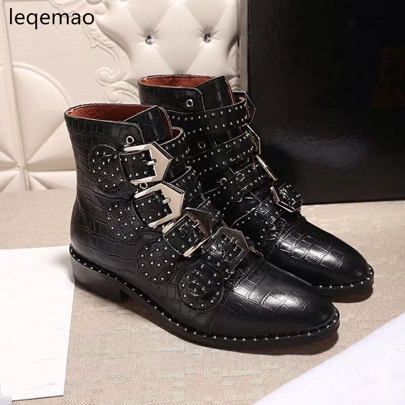 Hot Sale Women Real Geanuine Leather Martin Boots Pointed Toe Metal Rivet Belt Buckle Motorcycle Woman Fashion Ankle Shoes 35-42 hot sale hot sale car seat belts certificate of design patent seat belt for pregnant women care belly belt drive maternity saf