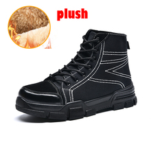 Купить с кэшбэком Martin Boots Cotton Fabric Plush Boots Men Shoes Winter Snow Boot Warm Lace Up High Top Fashion Men Sneakers Cowboy Casual Shoes