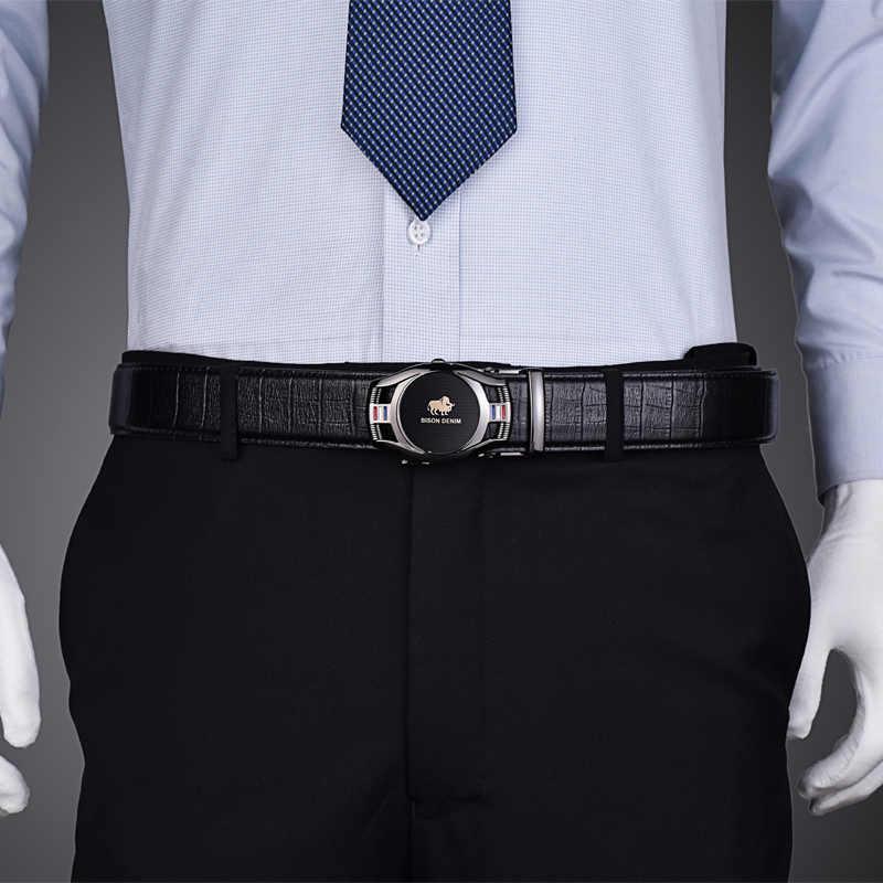 Мужской ремень из воловьей кожи BISON DENIM, черный брендовый модный кожаный пояс с автоматической пряжкой для мужчин, 2019
