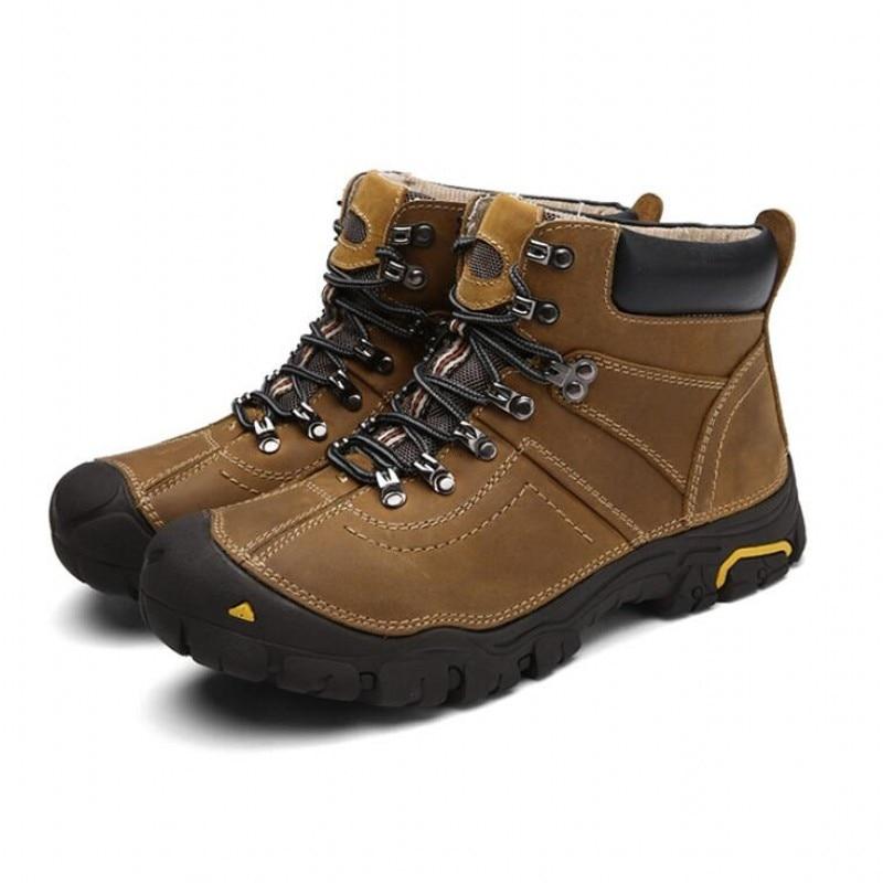 Hiking Boots Men Leather Trekking Outdoor Shoes Fleece Lining Warm Winter Sneaker Army Combat Boots Hiking Climbing Footwear