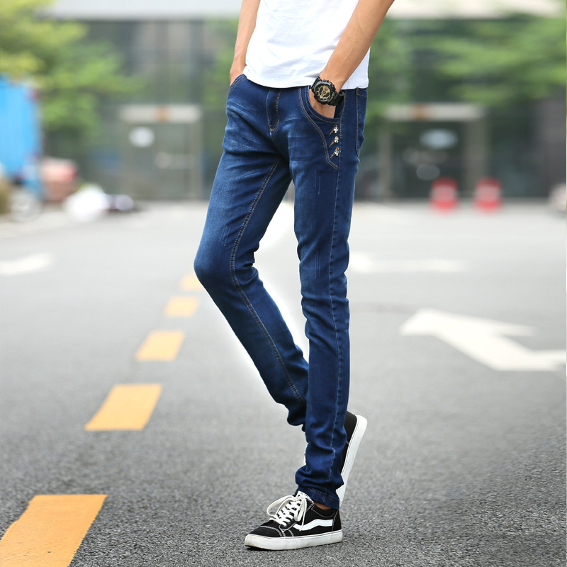 ФОТО Autumn and winter slim straight jeans men cotton solid mid waist long casual denim pants fashion plus size trousers