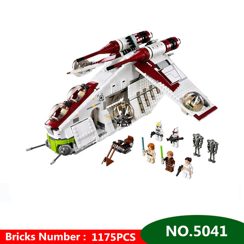 1175pcs Star War Series Genuine The The Republic Gunship Educational Blocks Compatible with Legoingly Bricks Toys For Children new 5041 star wars series the the republic gunship building blocks bricks toys compatible with legoingly children model starwars