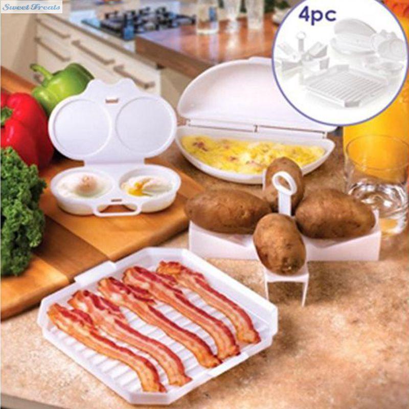 Sweettreats 4 PC Microwave Starter Set Eggs Bacon Potatoes Baker Tray Microweavable Cooker