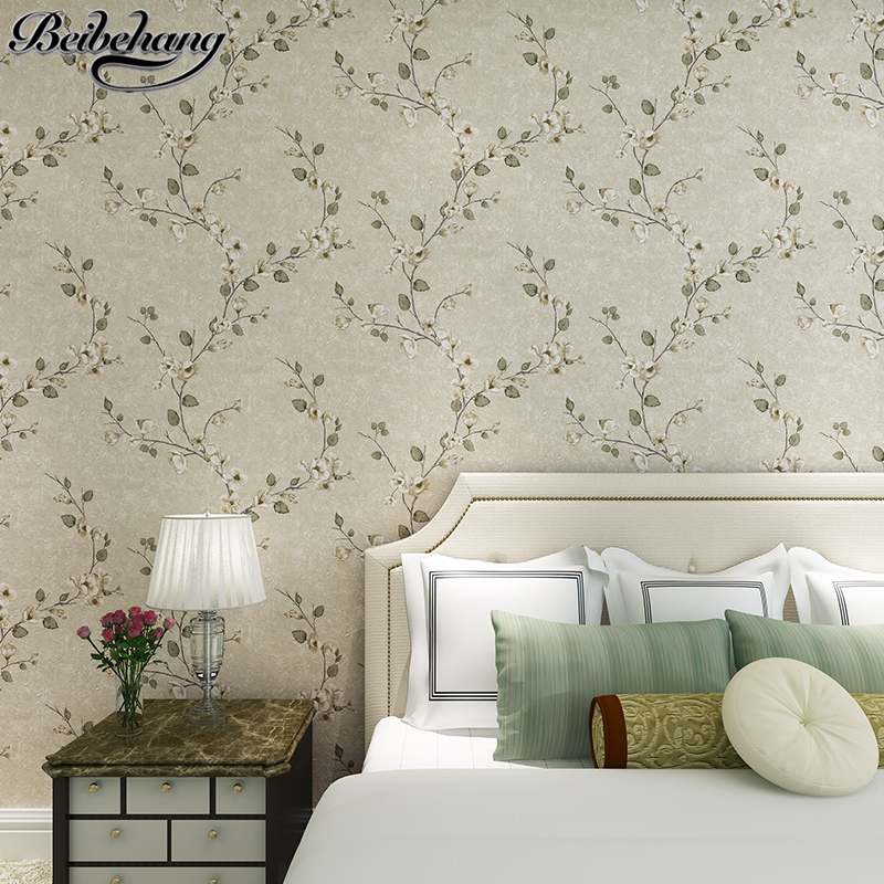 Beibehang Retro American Village Wallpapers Nonwovens Pastoral Flowers Bedroom Study Room Living Room TV Background Wallpapaper