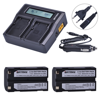 2Pcs 54344 GPS Battery+LCD Fast Dual Charger for Trimble 29518,46607,52030,38403,R8,5700,5800, R6, R7, R8, R8 GNSS GPS Receiver