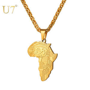Image 1 - U7 African Map Pattern Eye Of Horus Pendant Necklaces for Women/Men Gift Eye Gold/Black Color Allah Necklace Amulet Collar P1194