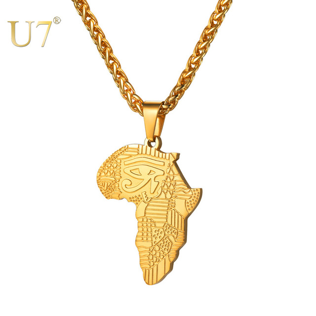 U7 African Map Pattern Eye Of Horus Pendant Necklaces for Women/Men Gift Eye Gold/Black Color Allah Necklace Amulet Collar P1194